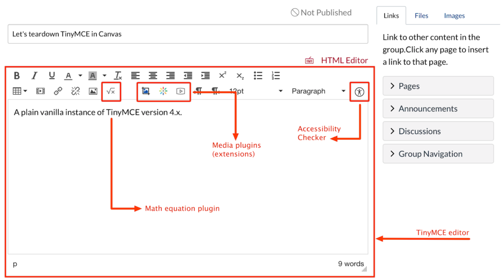 TinyMCE 4 editor in Instructure Canvas LMS