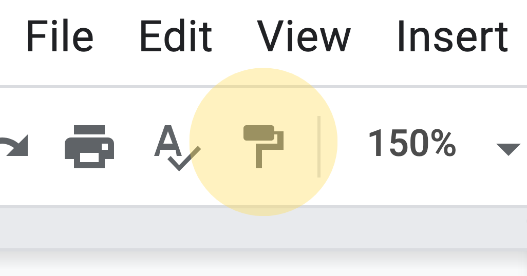 Format painter in the toolbar