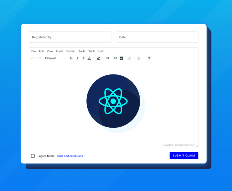 React app enhanced with a rich text editor