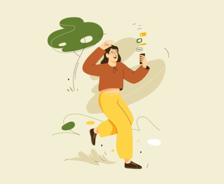 Illustration of a person walking through the park, looking at their phone held out in front of them while smiling. Abstract images are trailing from the phone depicting a lot of mobile activity. by Cami Dobrin
