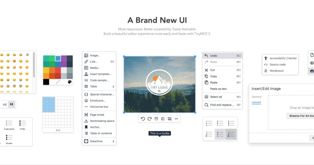 TinyMCE 5 new UI components includes menus