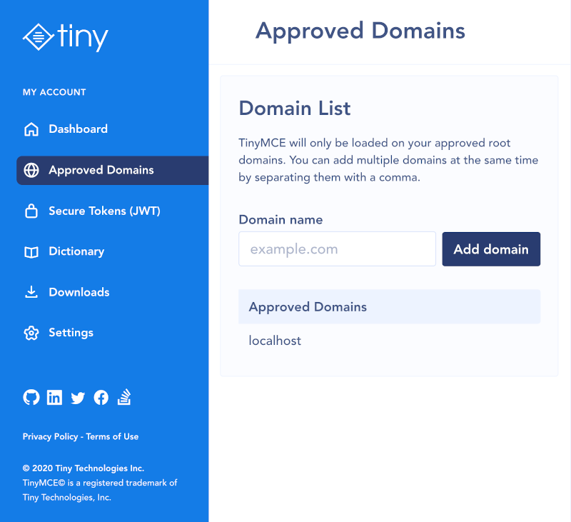 Screenshot of Tiny account with Approved Domains tab selected and approved domains displayed.