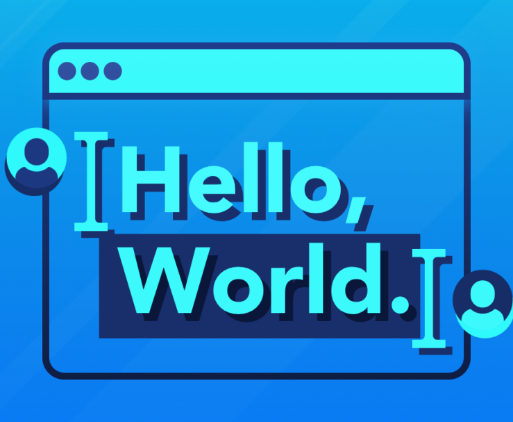 Abstract illustration of text editor, containing text 'Hello World', and two cursors present.