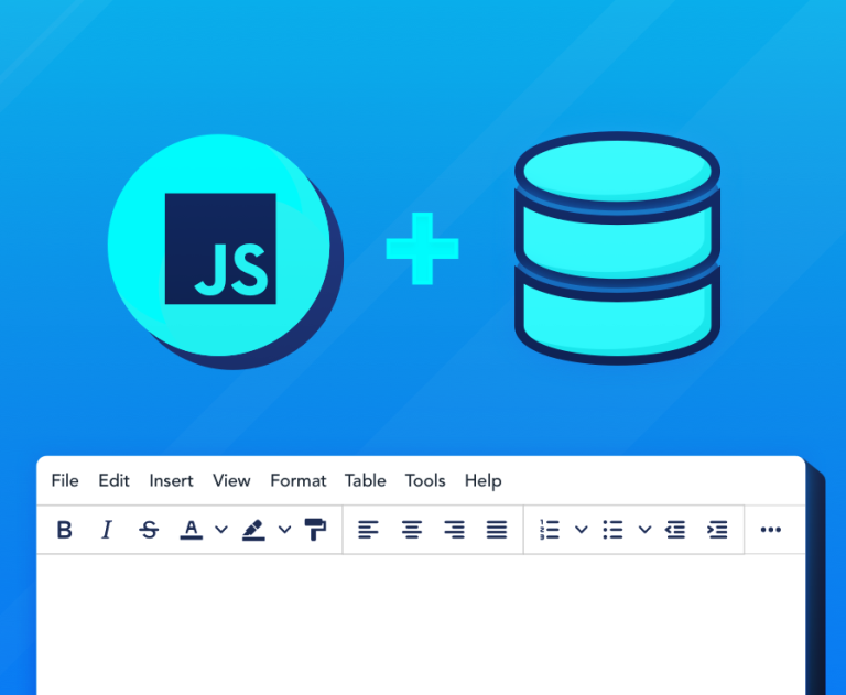 Abstract illustration of JavaScript logo, database, and rich text editor window.