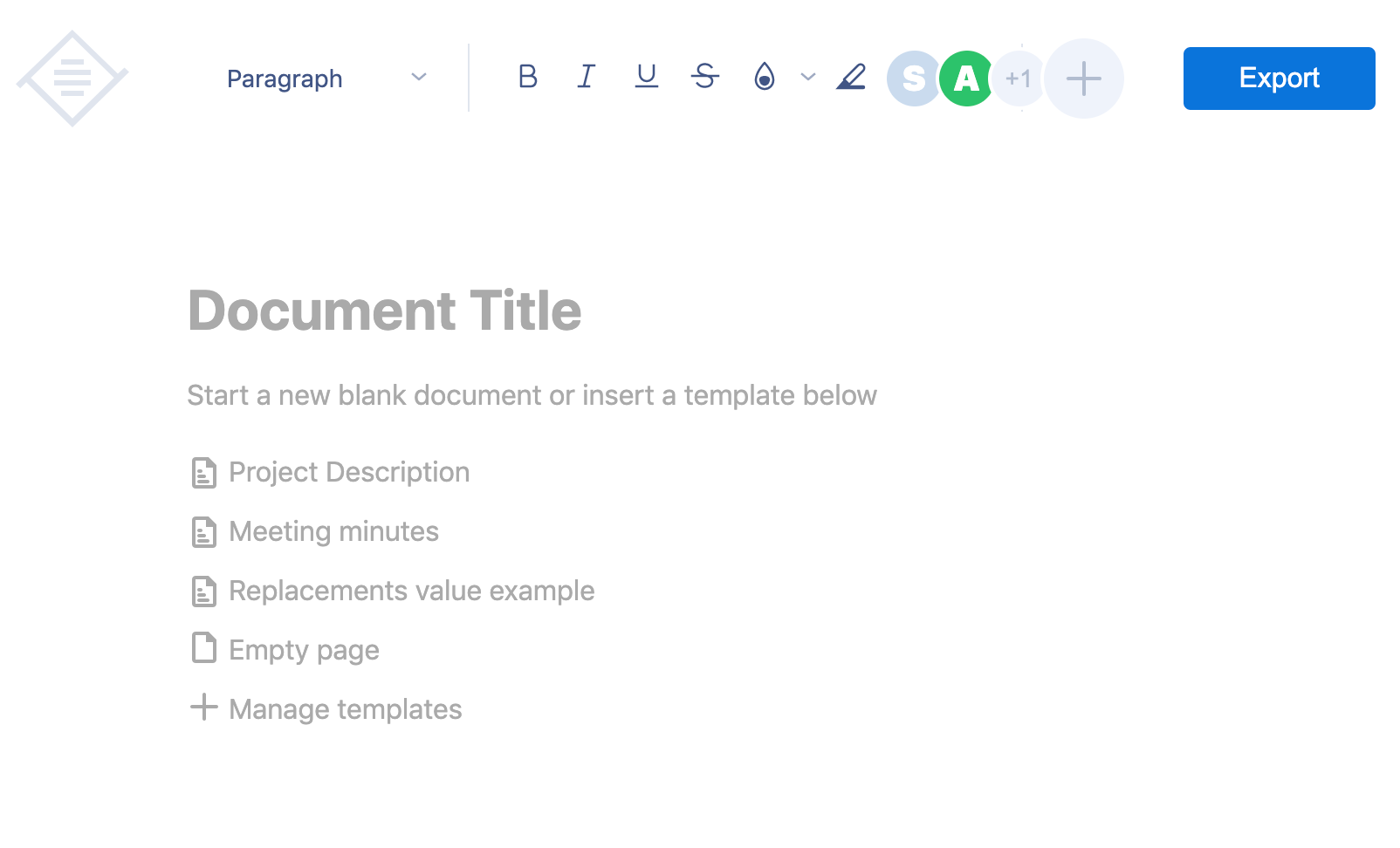 TinyMCE with empty page placeholder.