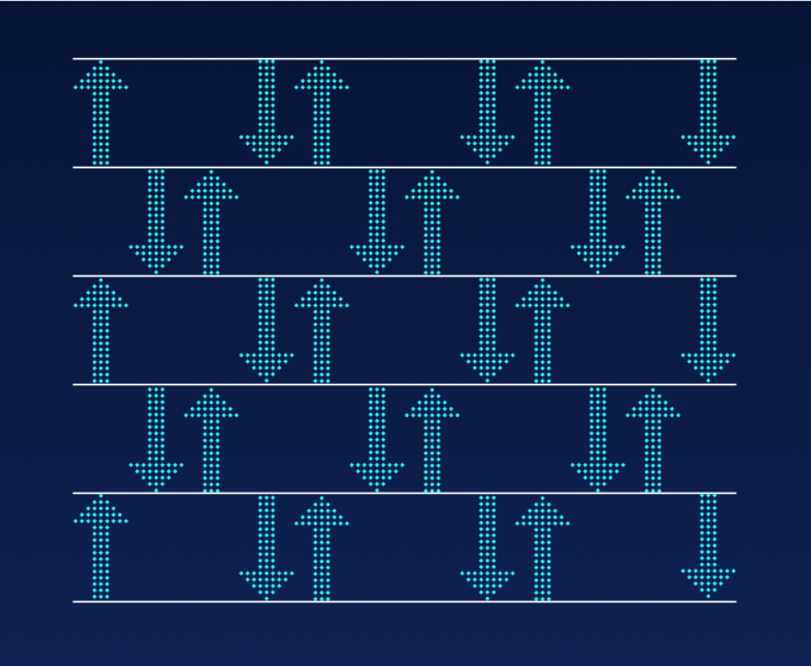 Six lines with arrows pointing between them highlighting the spacing.