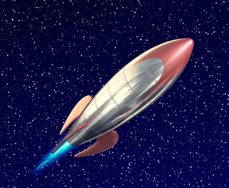 Illustration of rocket flying through space with blue flame behind.