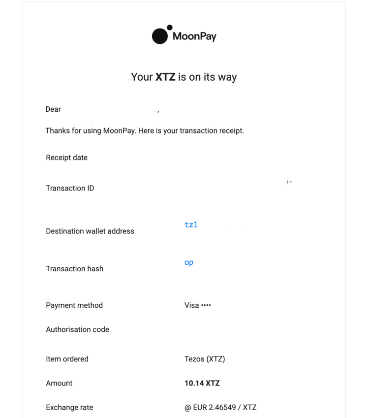 MoonPay XTZ purchase confirmation email