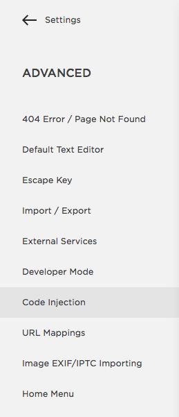 Squarespace Code Injection Setting