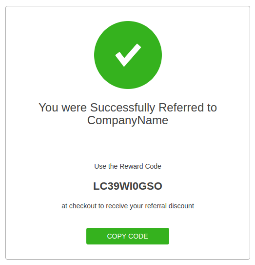 Referred User Widget Reward Code