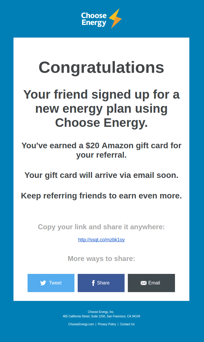 Choose Energy Email Example