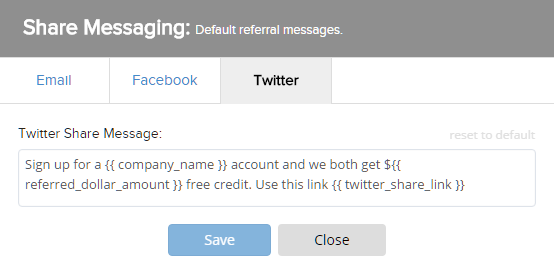 twitter share messaging options