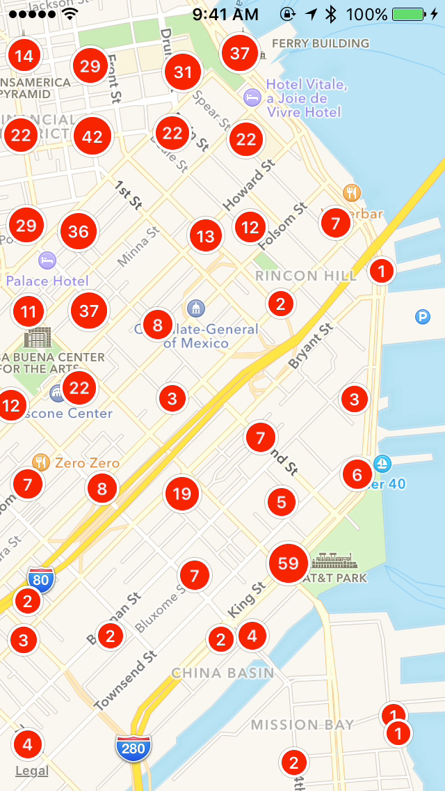 Cover image of the ios clustered map view in action