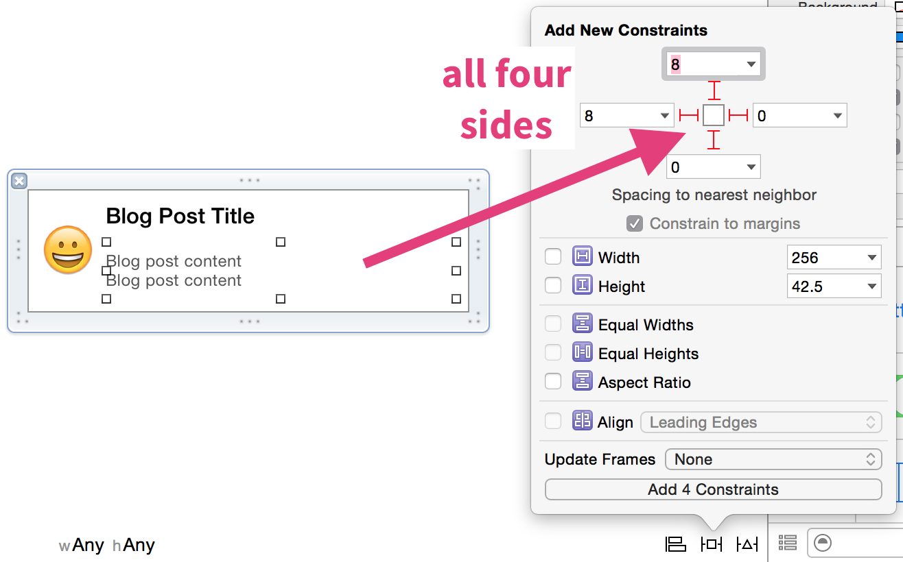 Set up constraints for the content label