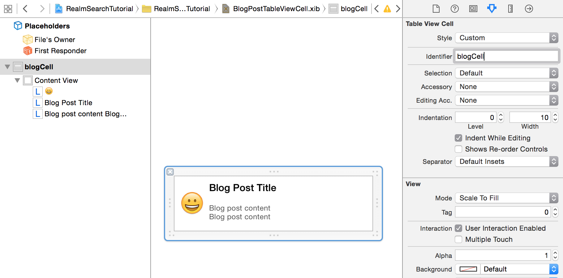 Create BlogPostTableViewCell UI