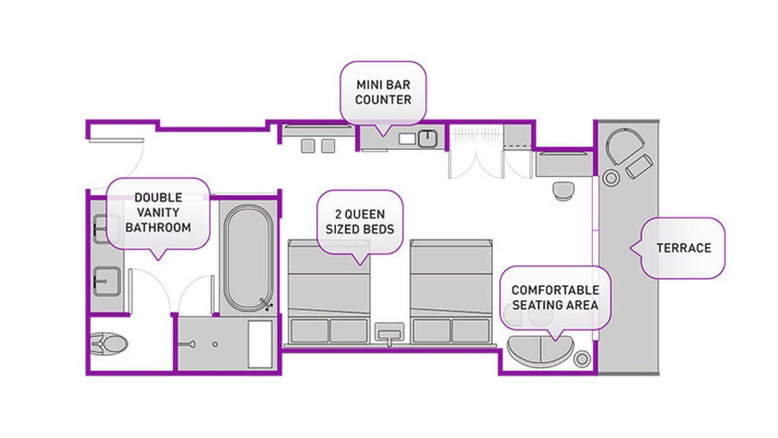 Terrace Studio Two Queens floor plan