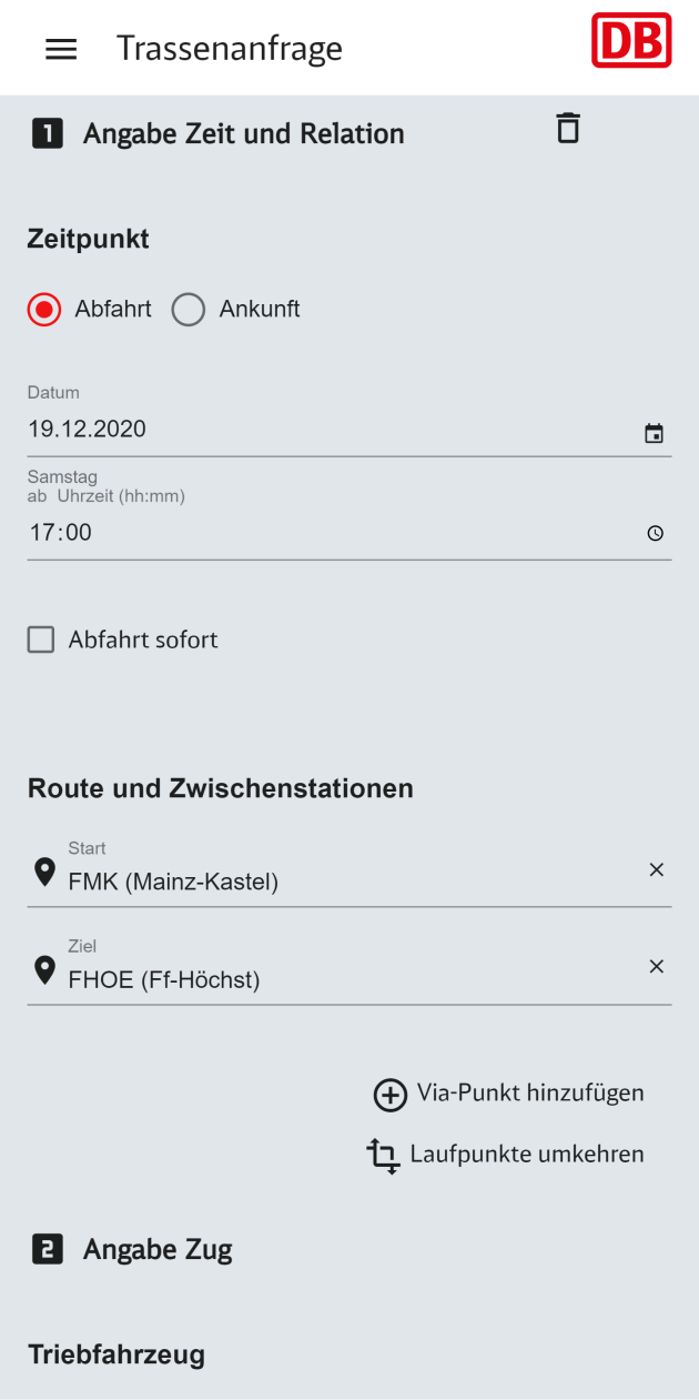 Trassenanfrage in der Click and Ride App