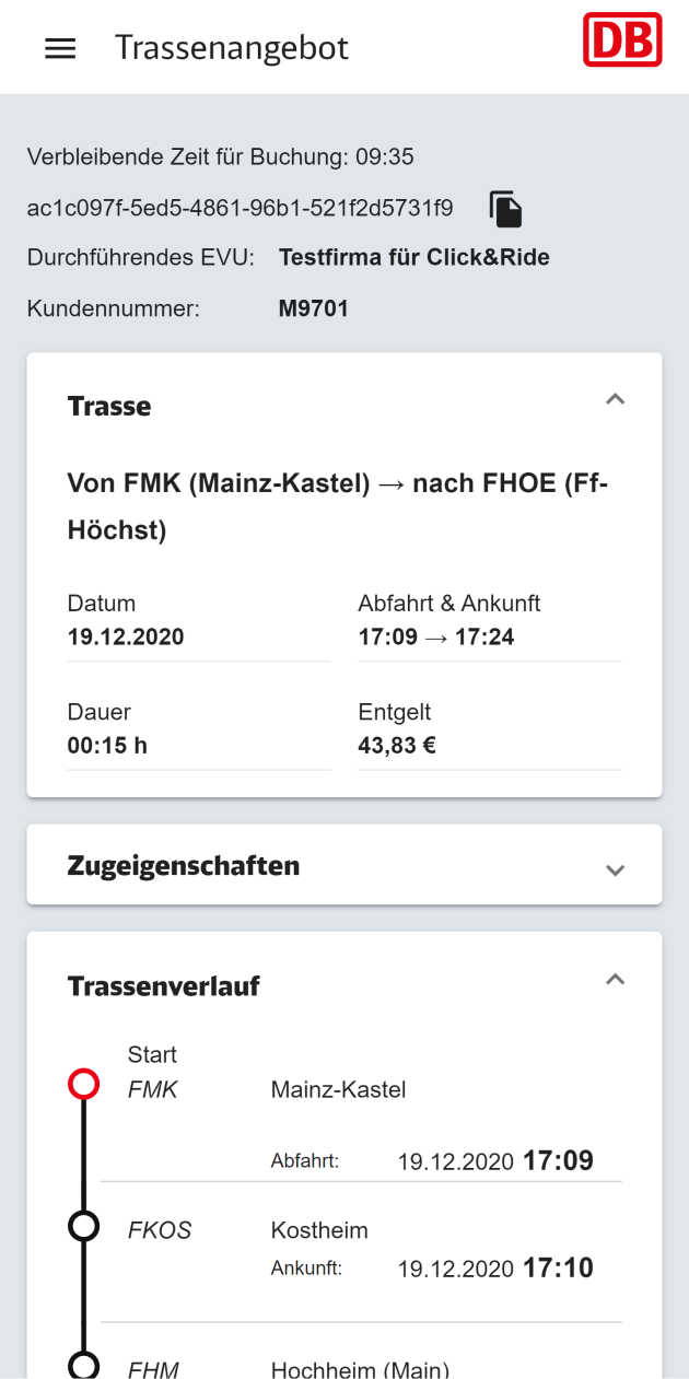 Trassenangebot in der Click and Ride App