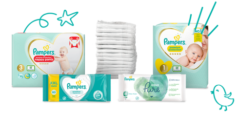 Pampersin vaipat ja puhdistuspyyhkeet vastasyntyneelle