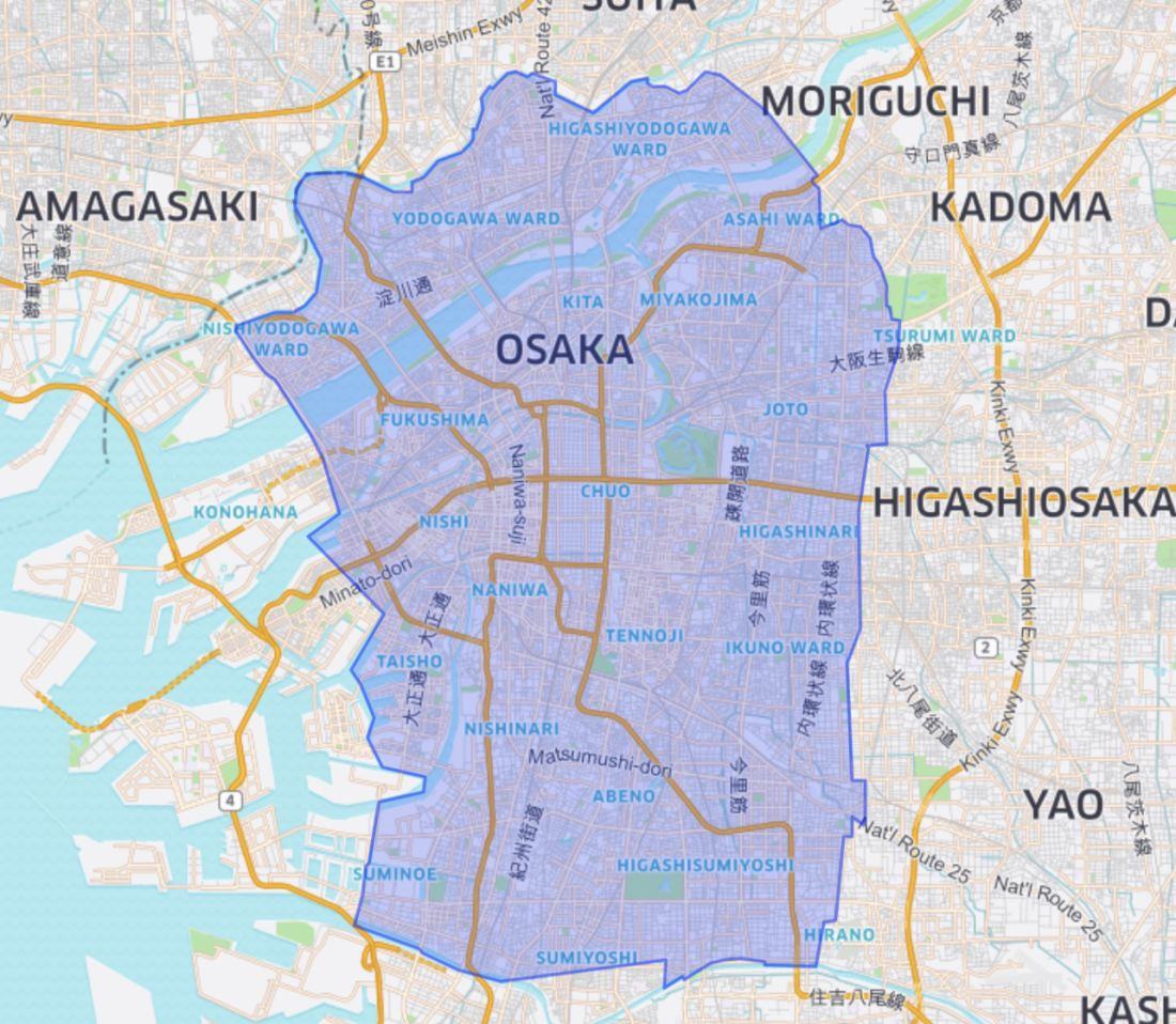Uber Eats Osaka Service Area Map