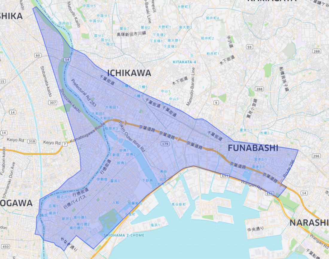 Uber Eats Chiba Service Area Map