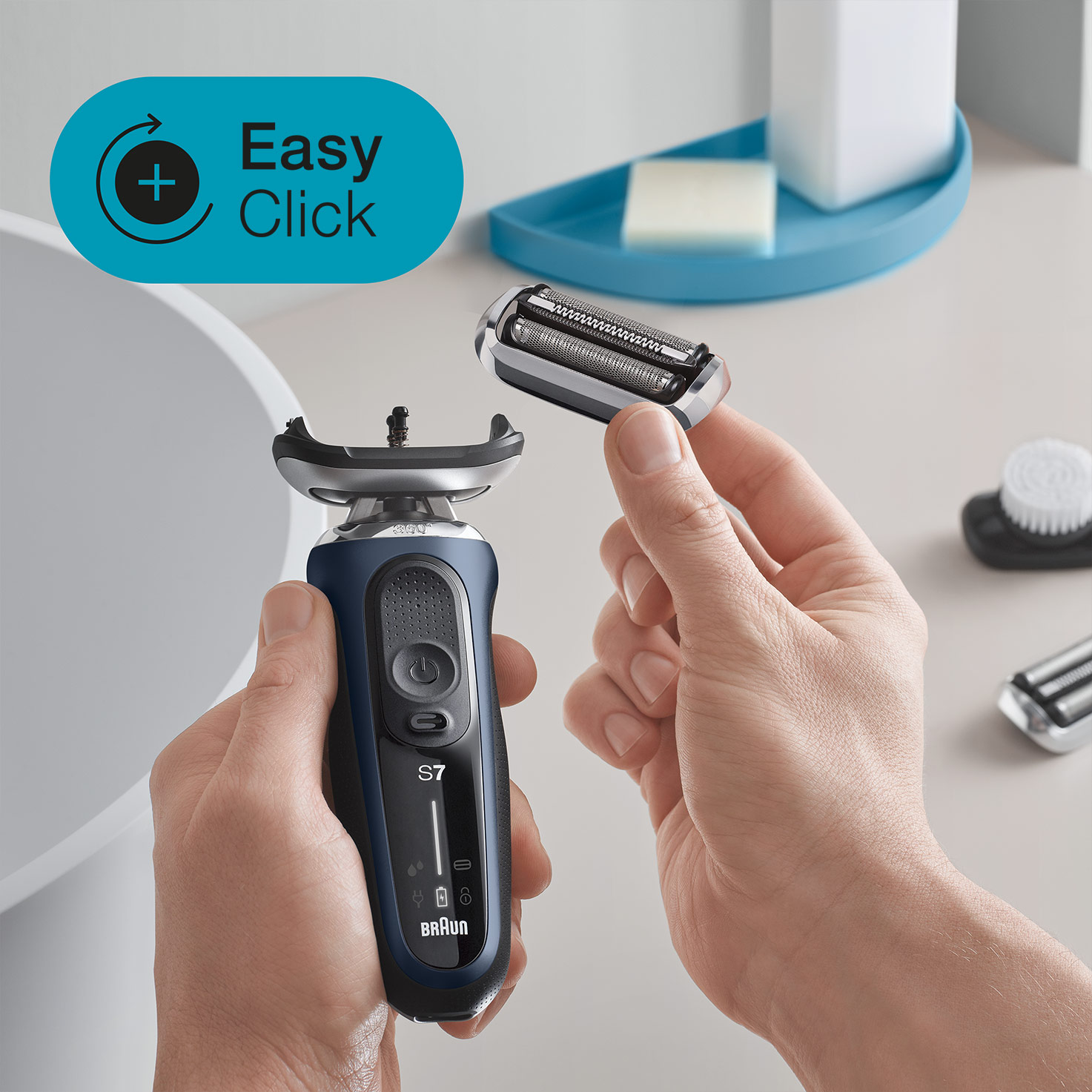 Braun Series 7 blue easy click shaver head