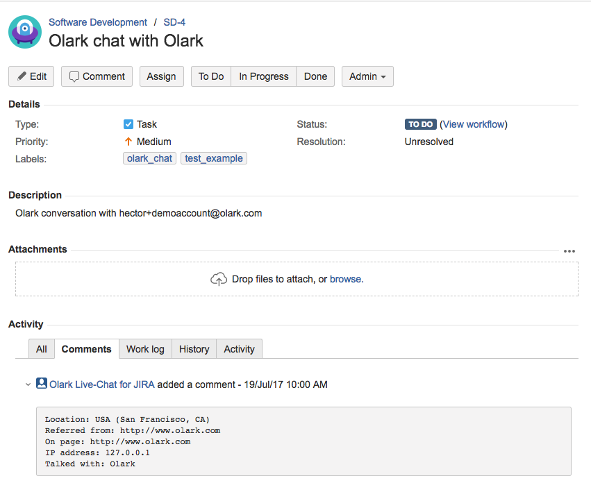 This is a screenhot of JIRA Integration