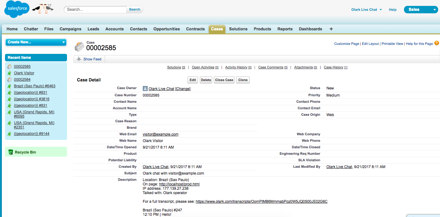 This is a screenhot of Salesforce Integration