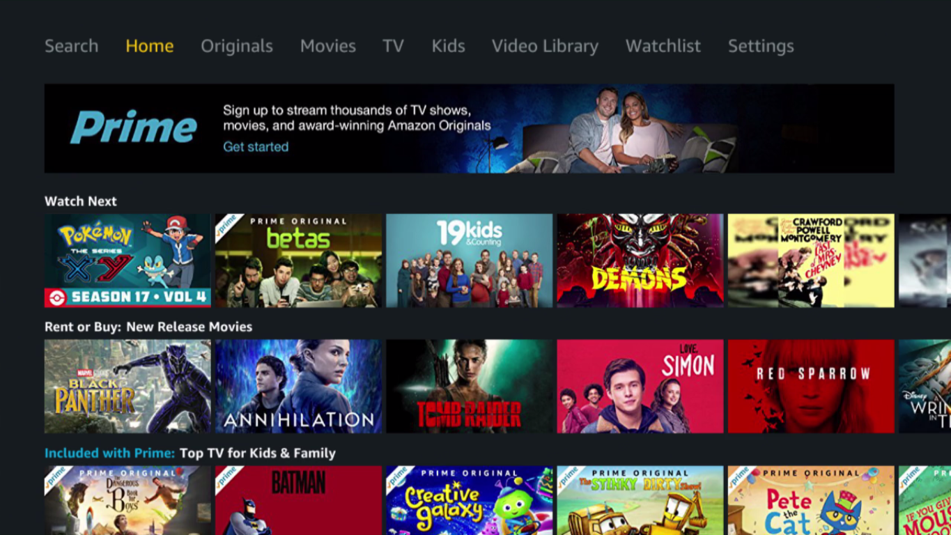 Amazon Video Player home page