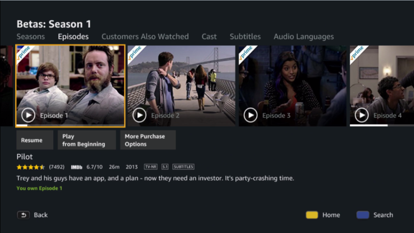 Betas series detail page in Amazon Video Player