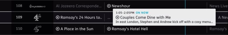 Programme synopsis in the guide for Couples Come Dine With Me, showing On Now.