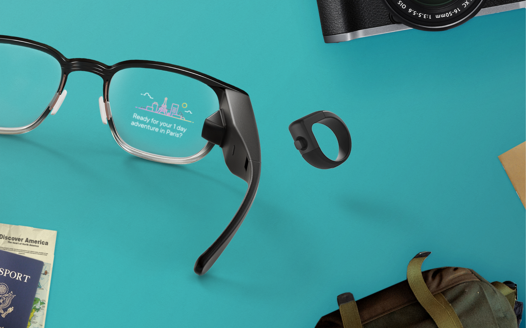 Smart glasses with a city-scape image and the text 'Ready for your 1 day adventure in Paris?' displayed on the lens.