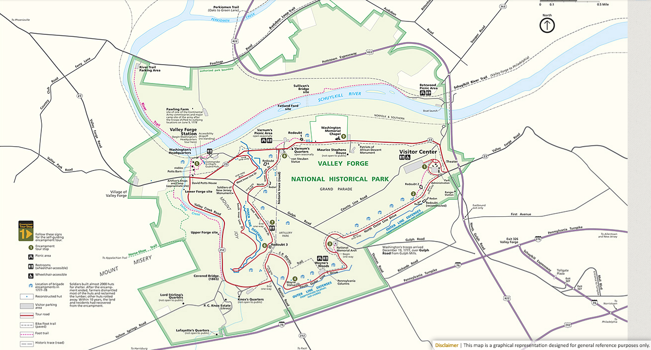 Valley Forge Park Map Valley Forge National Historical Park   Philly Day Hiker Valley Forge Park Map