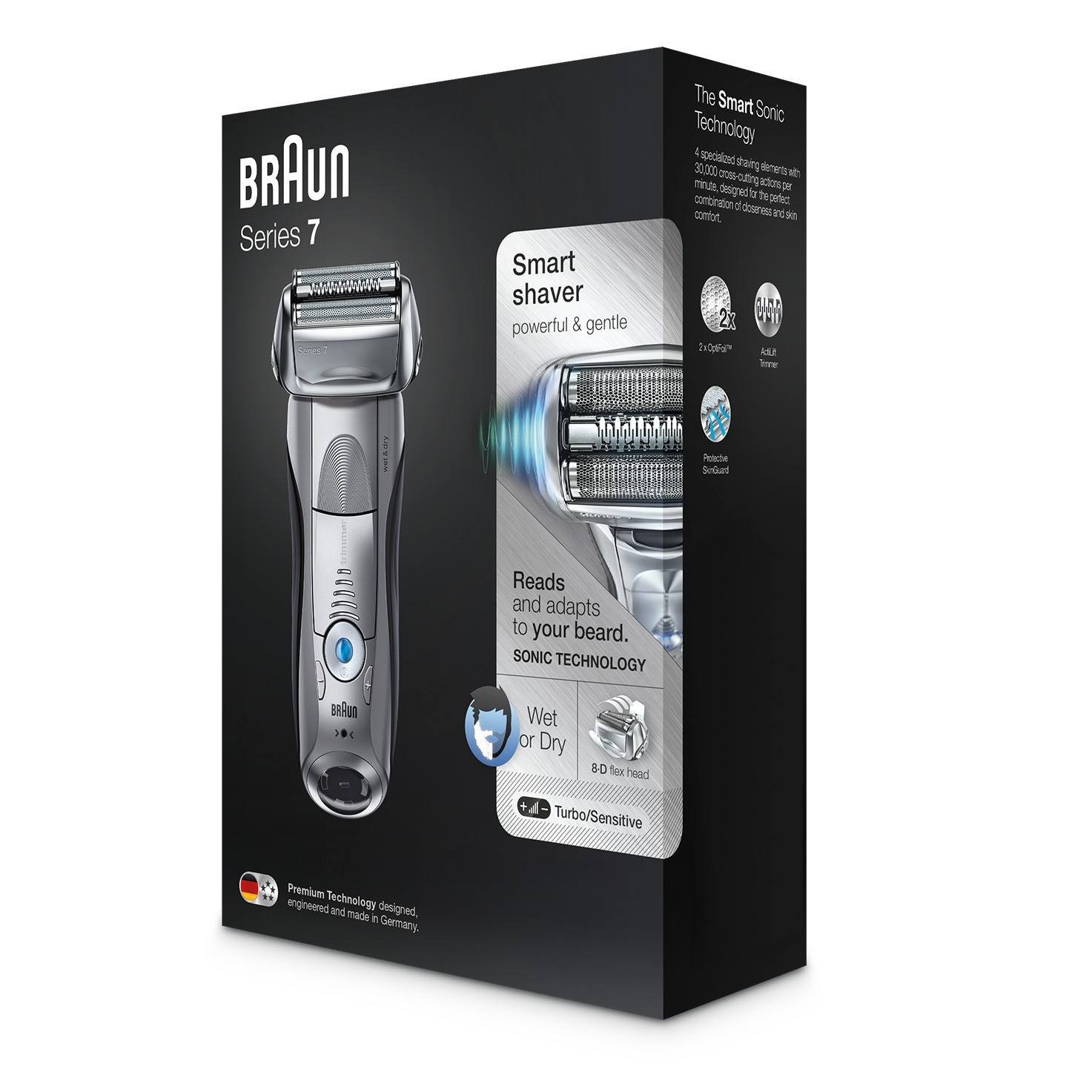 Braun Series 7 silver electric shaver packaging