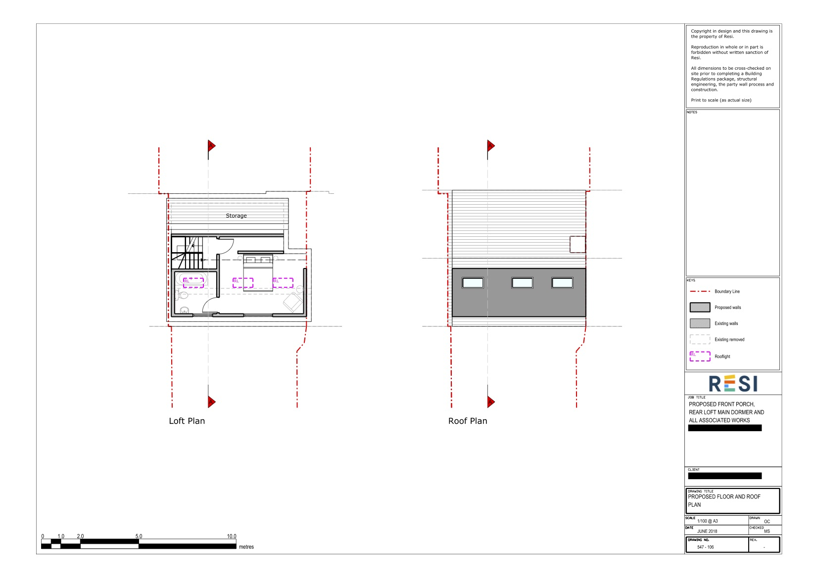 Existing and proposed  drawings   loft and roof plans