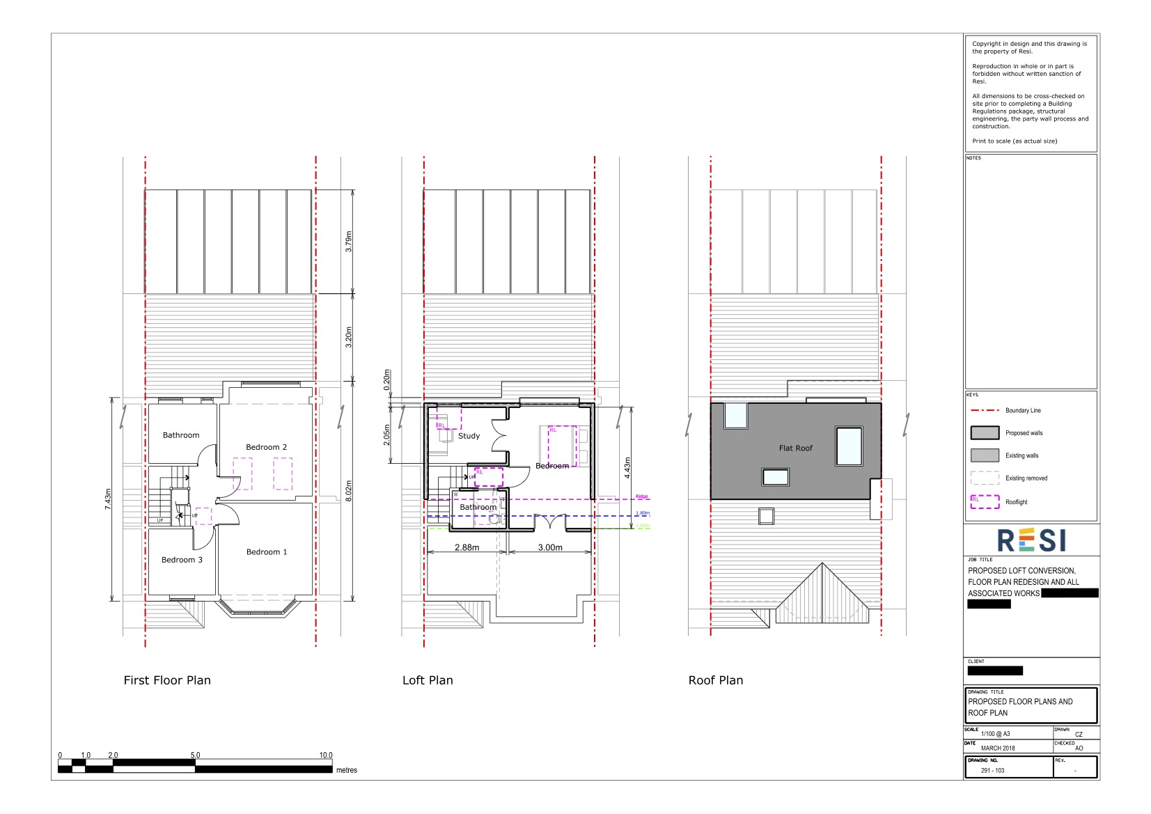 Loft architectural drawings  first floor and loft plans