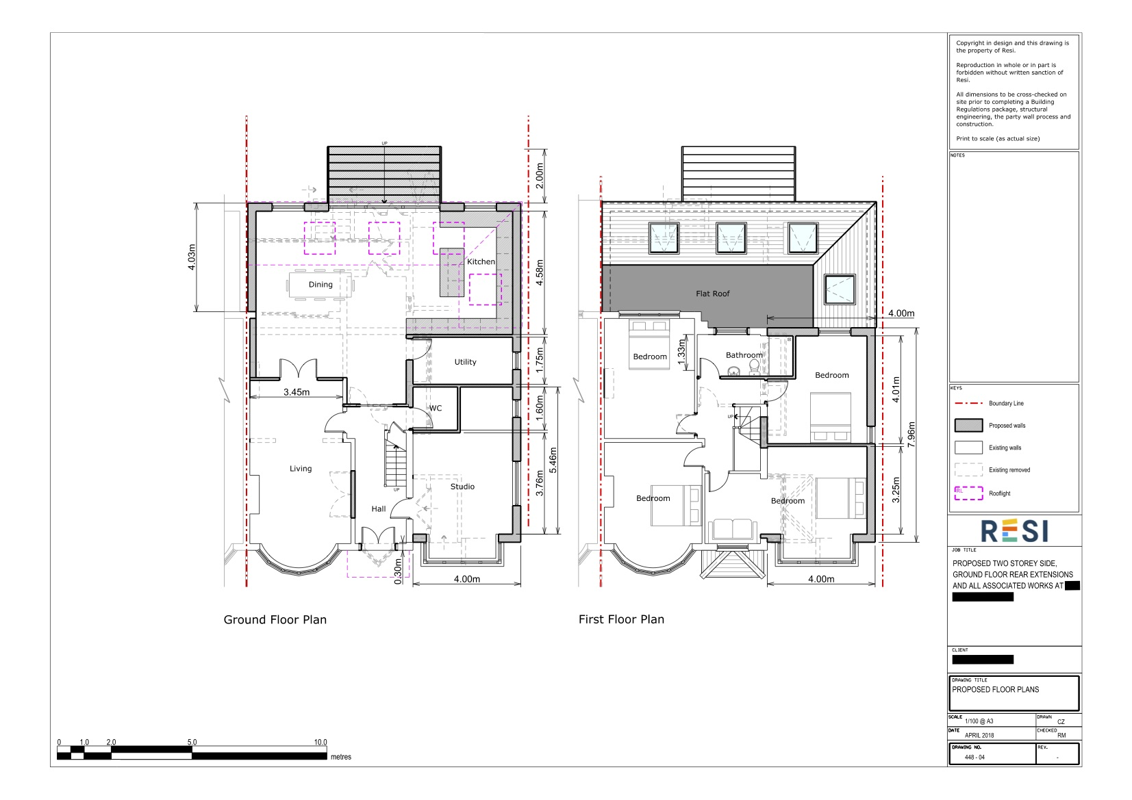 Architectural drawings   ground and first floor plans