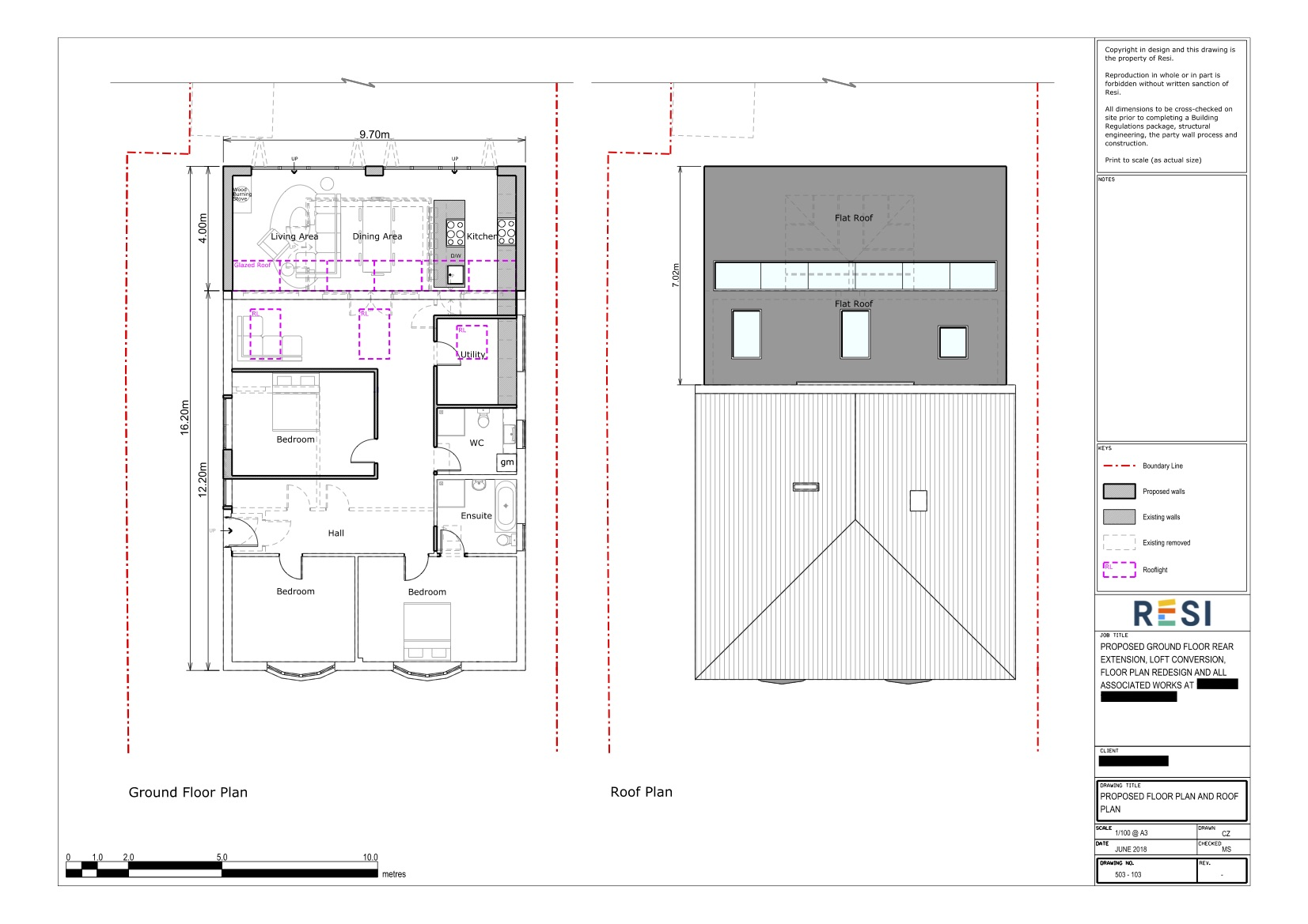 Architectural drawings 17   ground floor and roof plan