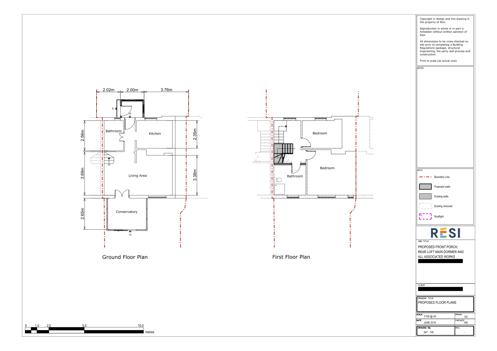 Existing and proposed  drawings   gf and ff floor plans porch