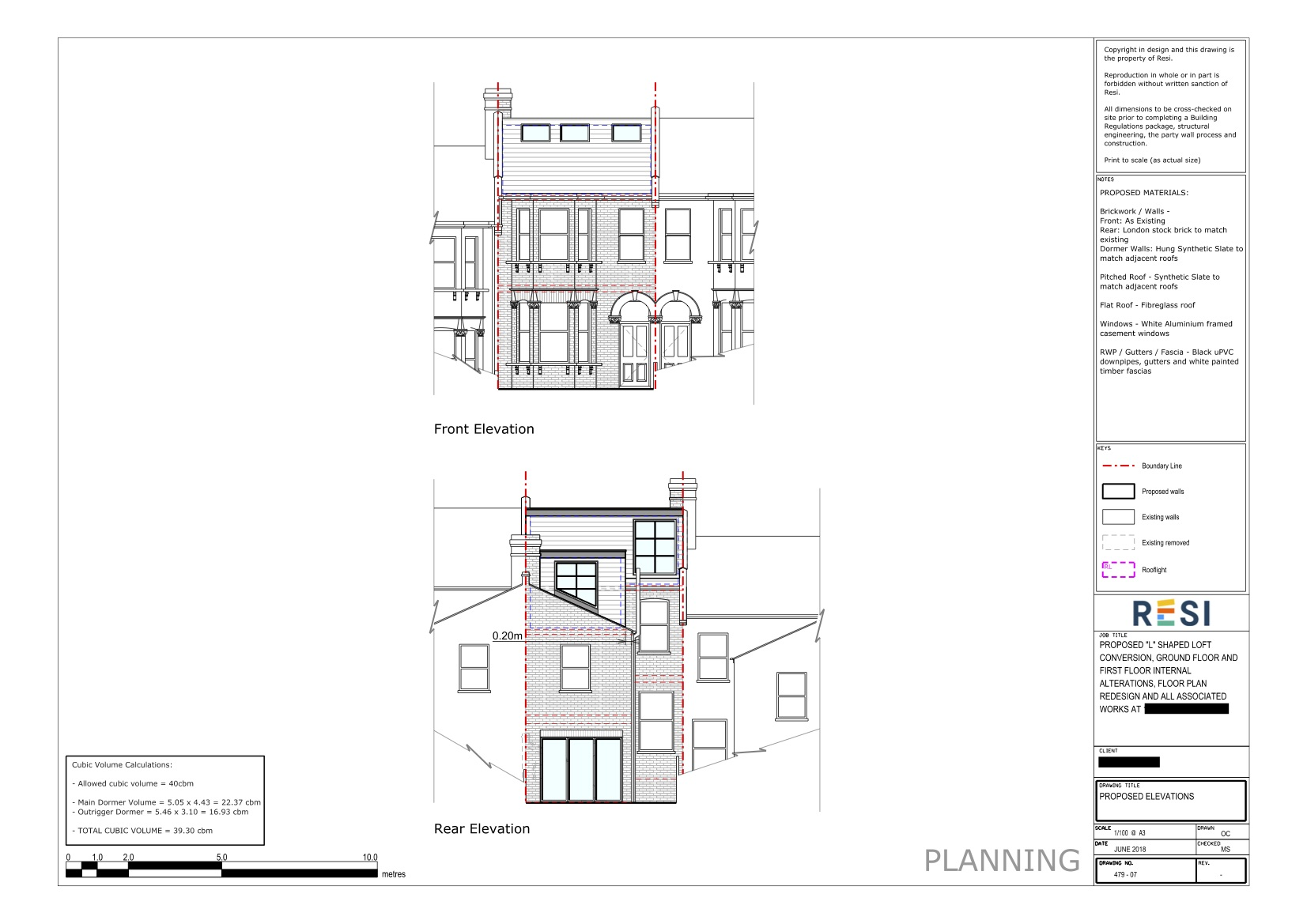 Architectural drawings 32    rear and front elevations