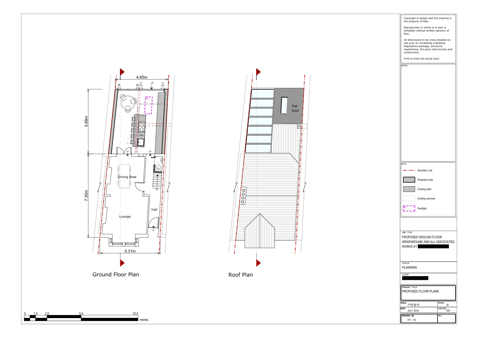 Architectural drawings    ground floor and roof plans