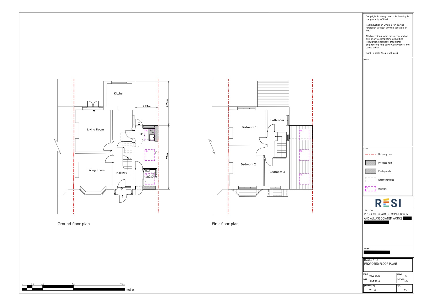 Architectural drawing set planning   ground and first floor plans