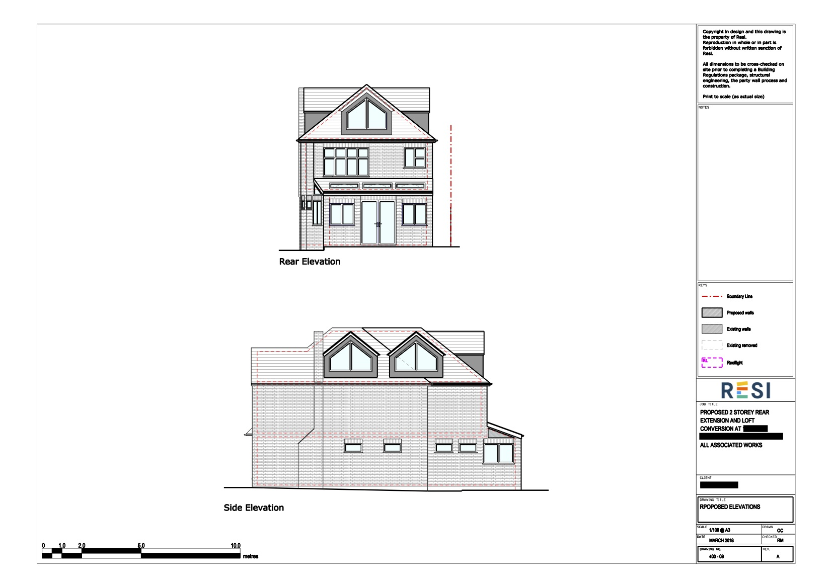Architectural drawings  loft elevations 2