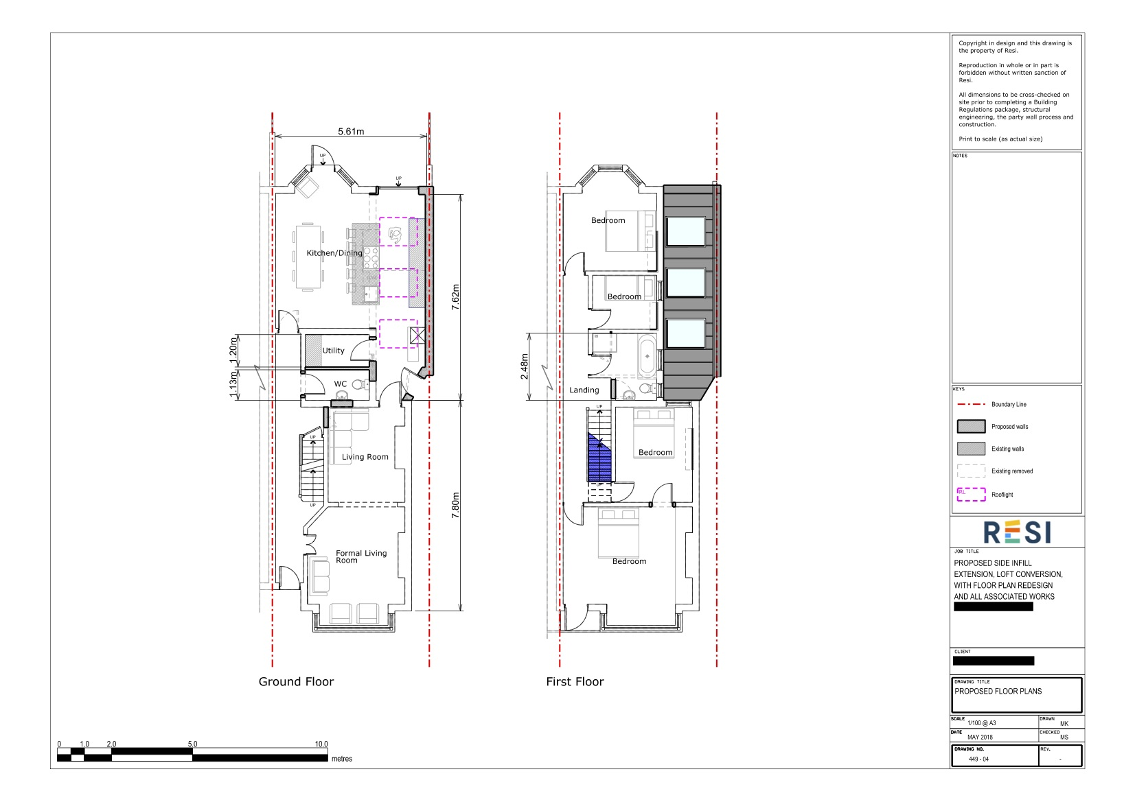 Architectural drawing set 3   ground and first floor plans