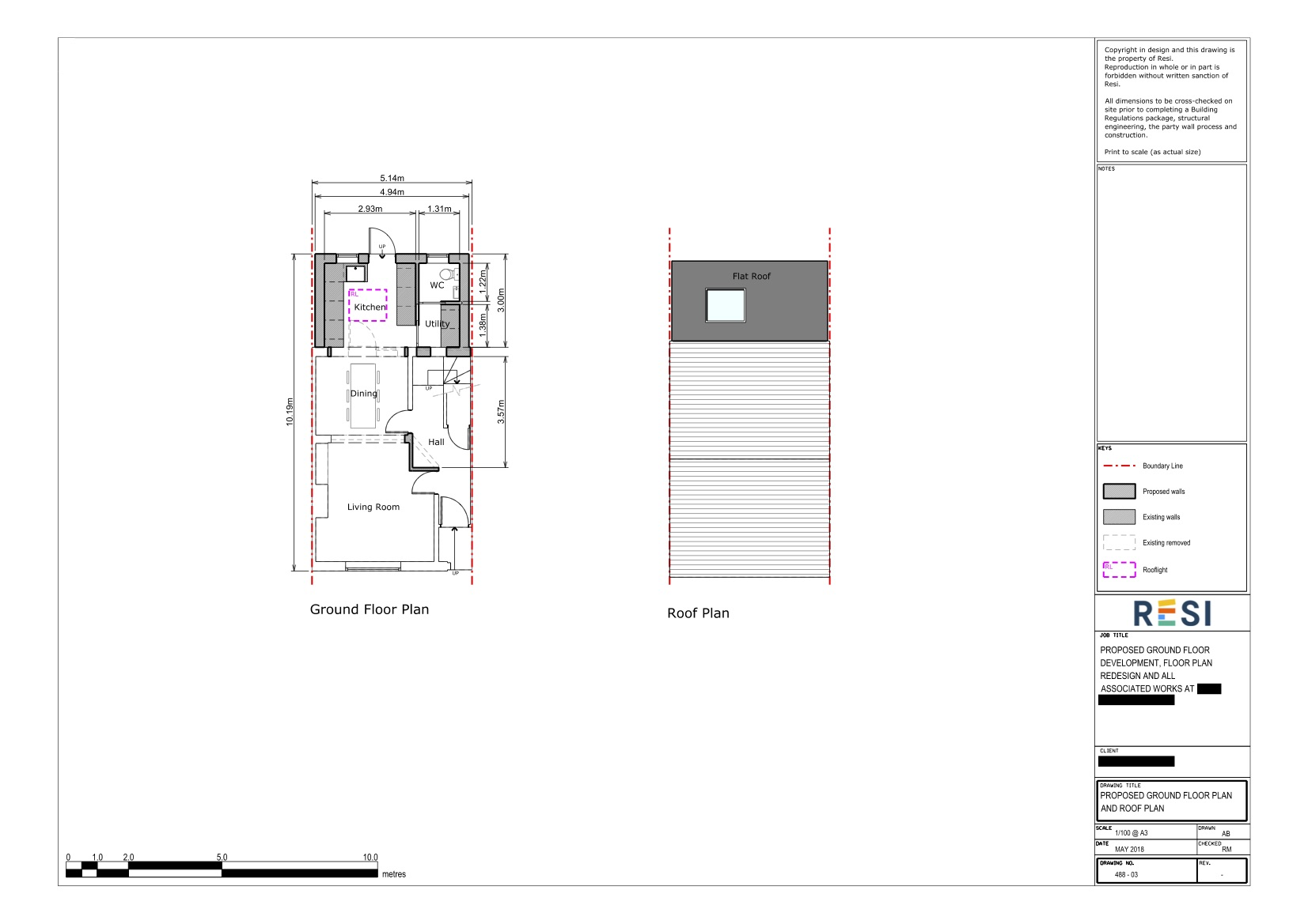 Architectural drawings set   ground floor and roof plan