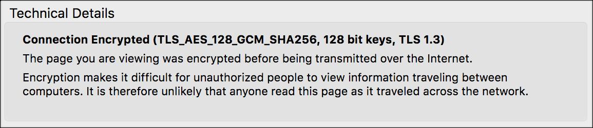 screenshot of technical details showing TLS 1.3