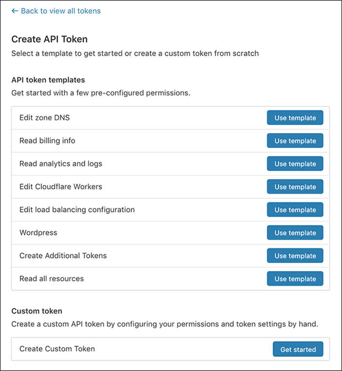 屏幕截图中显示 Cloudflare 仪表板中的创建 API 令牌屏幕