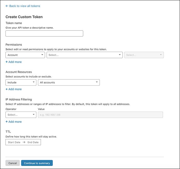 capture d'écran de l'écran de création de jeton personnalisé dans le tableau de bord de Cloudflare