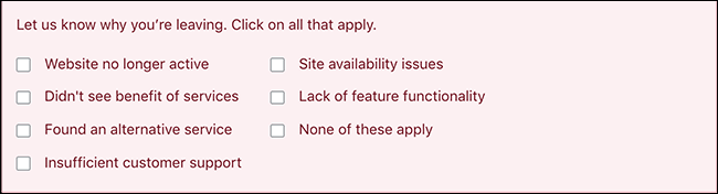 screenshot of downgrade modal with survey questions about the plan downgrade