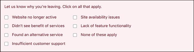 降级模式截图,其中包含有关计划降级的调查问题